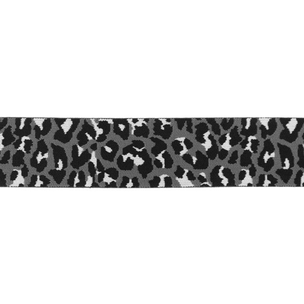 """1.5"""" Panther Print on Gray Elastic- Sold by the Yard"""