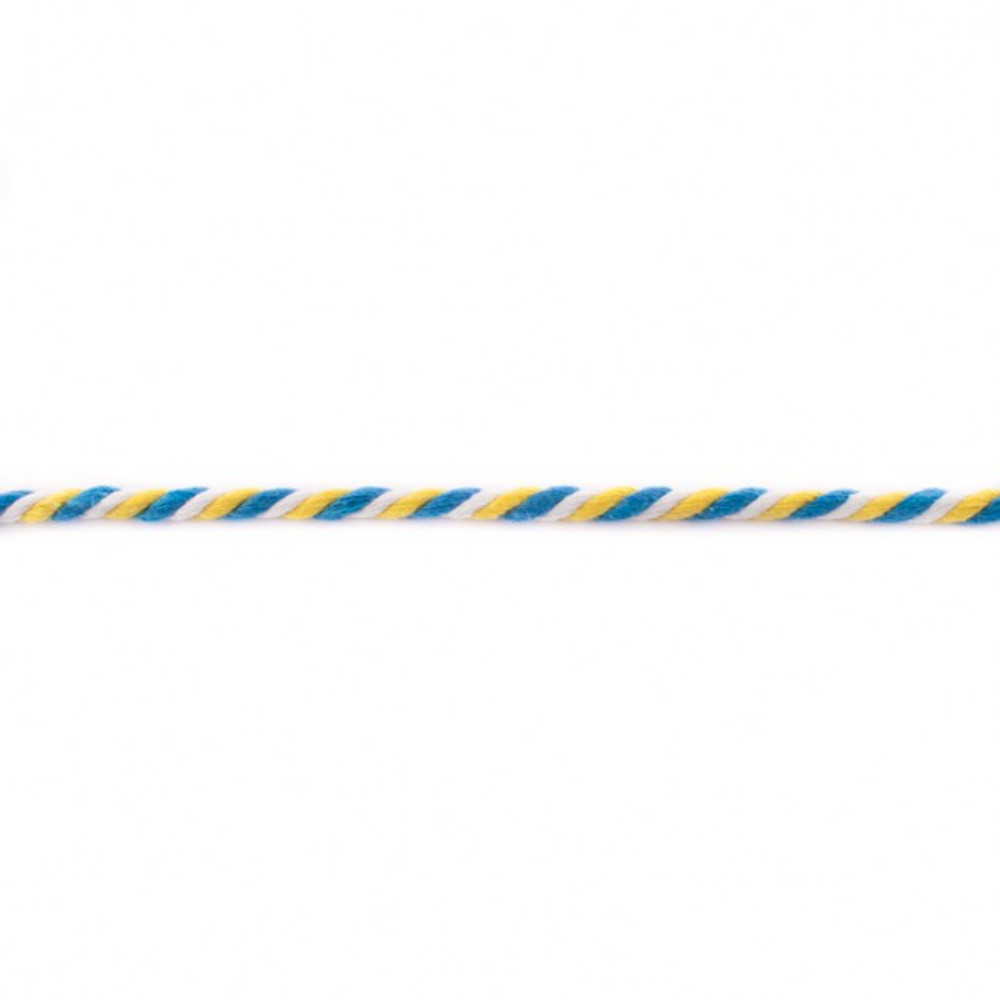 Aqua, Yellow and White 6mm Twisted Cord - Sold by the Yard