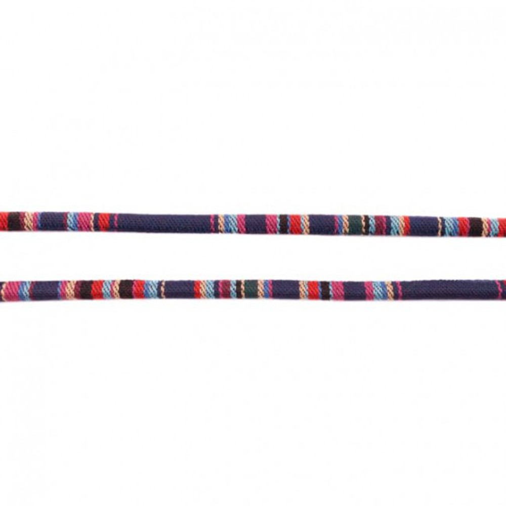 Dark Blue Aztec 7mm Cord - Sold by the Yard