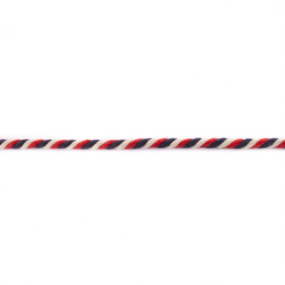Red, White and Blue 6mm Twisted Cord - Sold by the Yard