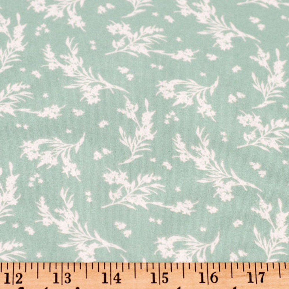 White Flowers on Sage Double Brushed Poly