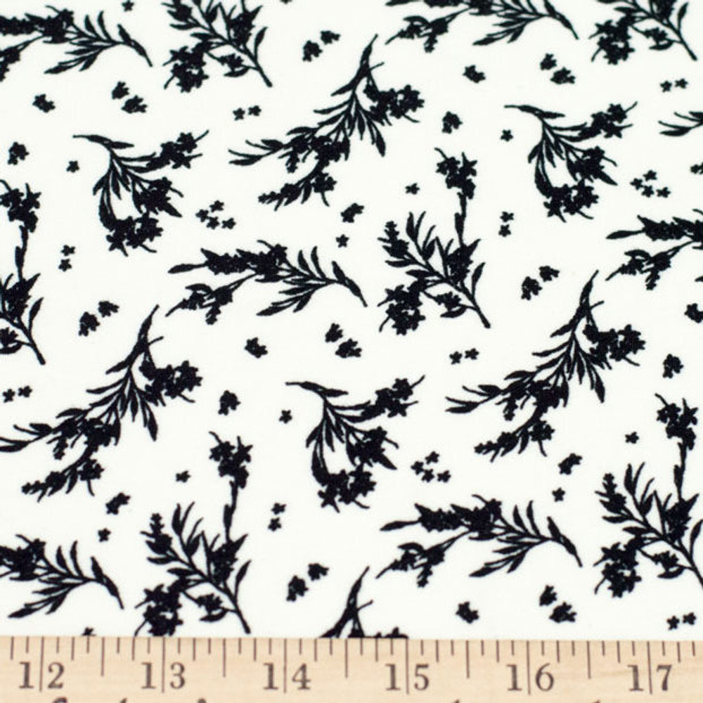 Black Flowers on Ivory Double Brushed Poly