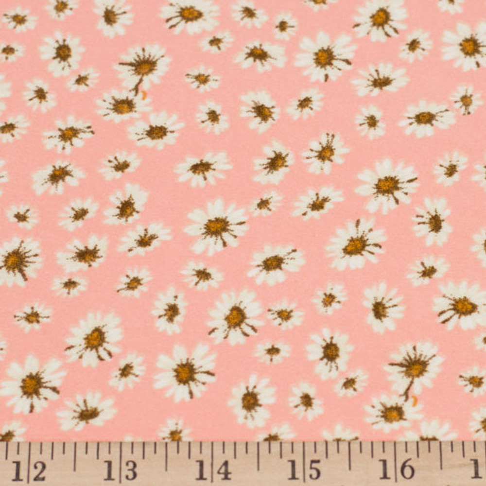 Ditsy White Flowers on Blush Double Brushed Poly