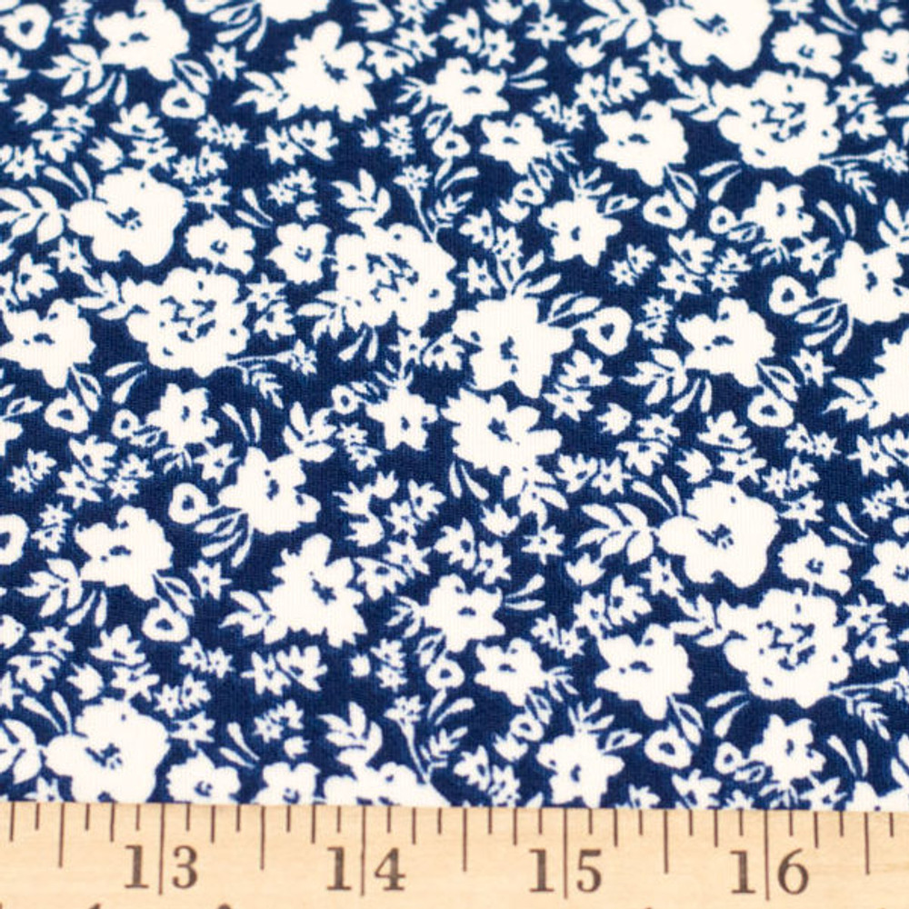 White Abstract Flowers on Navy Double Brushed Poly