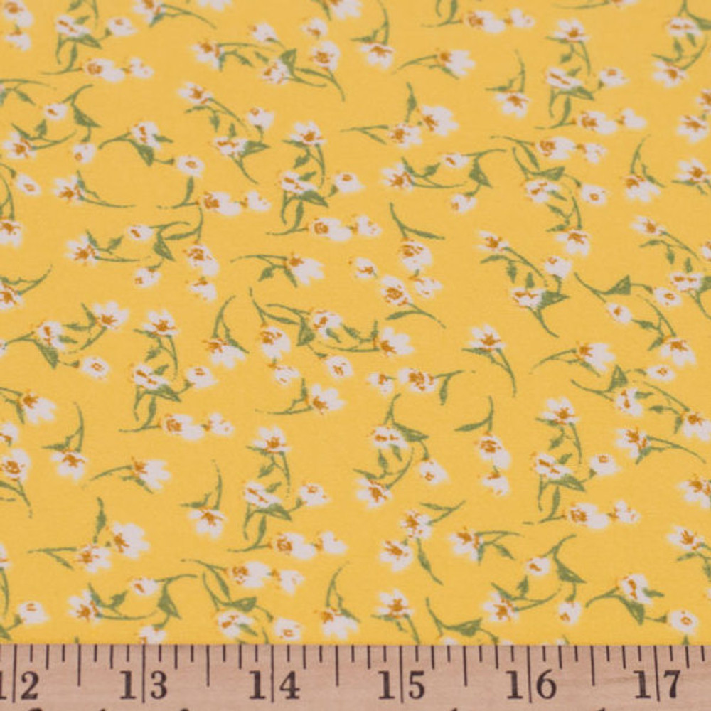 Ditsy Ivory Flowers on Yellow Double Brushed Poly