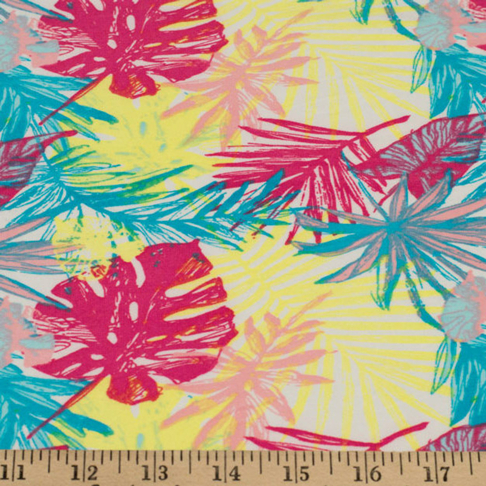 Tropical Leaves in Yellow & Pink Double Brushed Poly