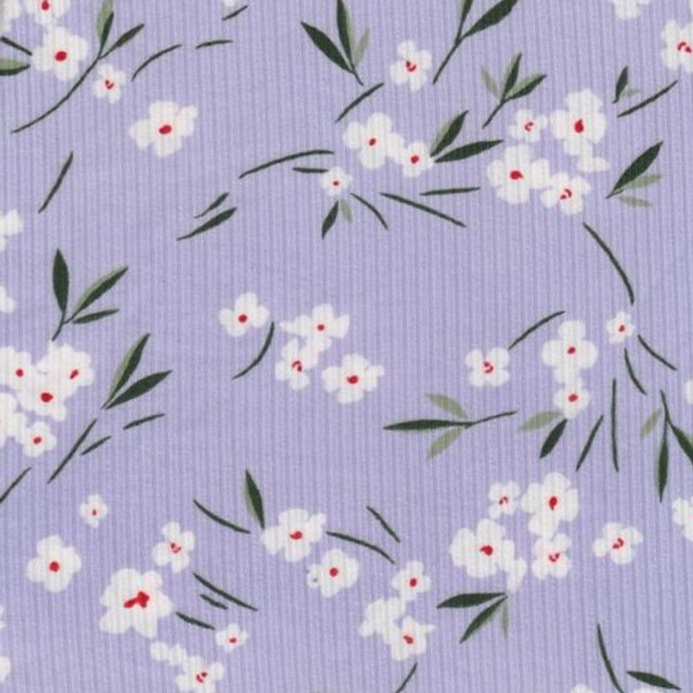 Lucy Floral on Lavender 8x3 Rib Knit