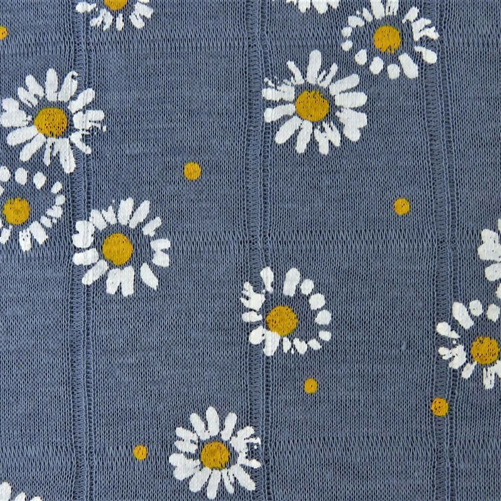 Painted Daisies on Blue Jean Double Gauze Jersey