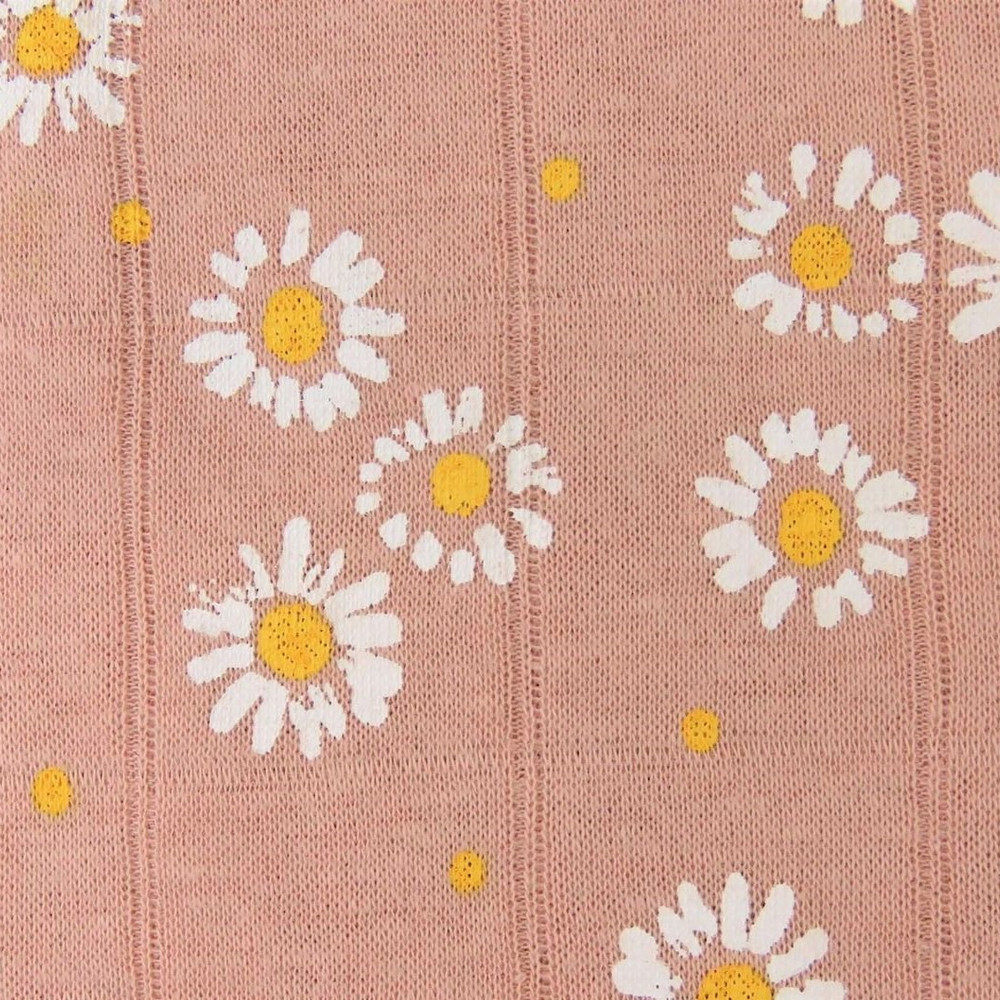 Painted Daisies on Rose Double Gauze Jersey