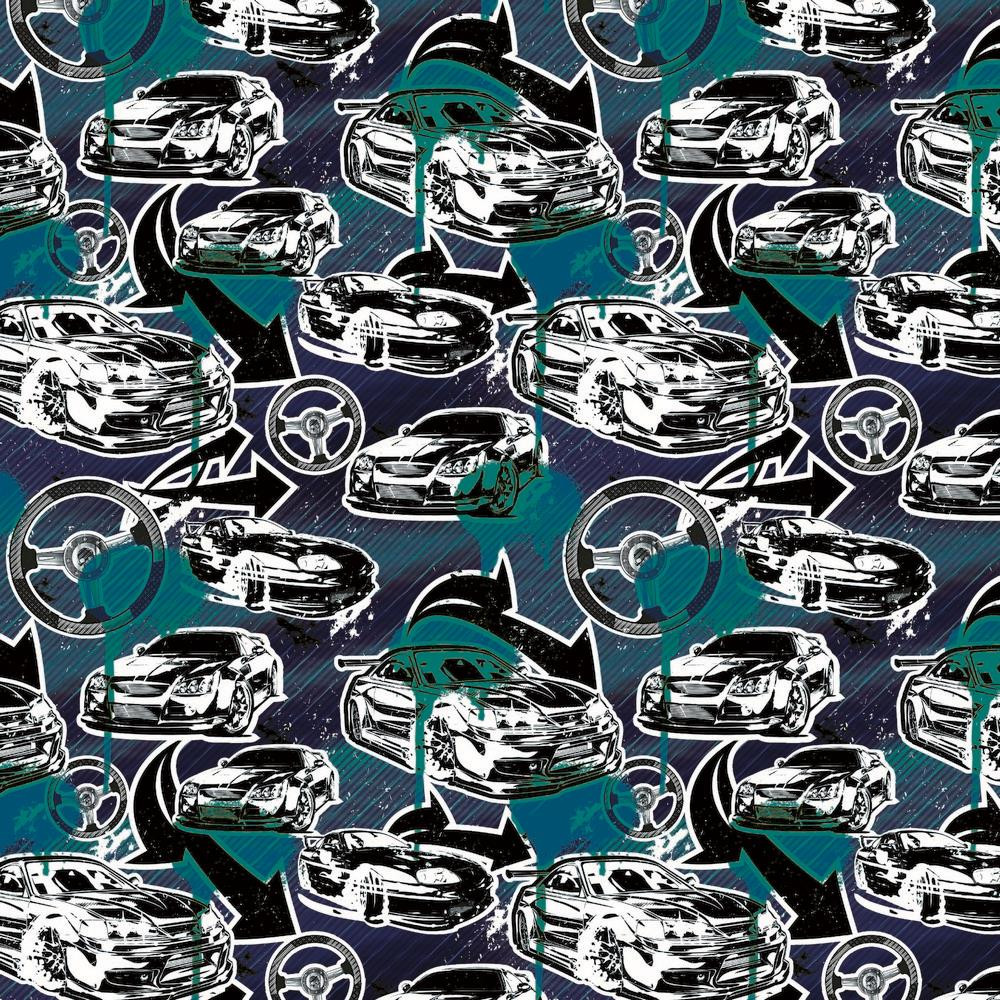 Fast & Furious on Navy & Teal Cotton Lycra Knit
