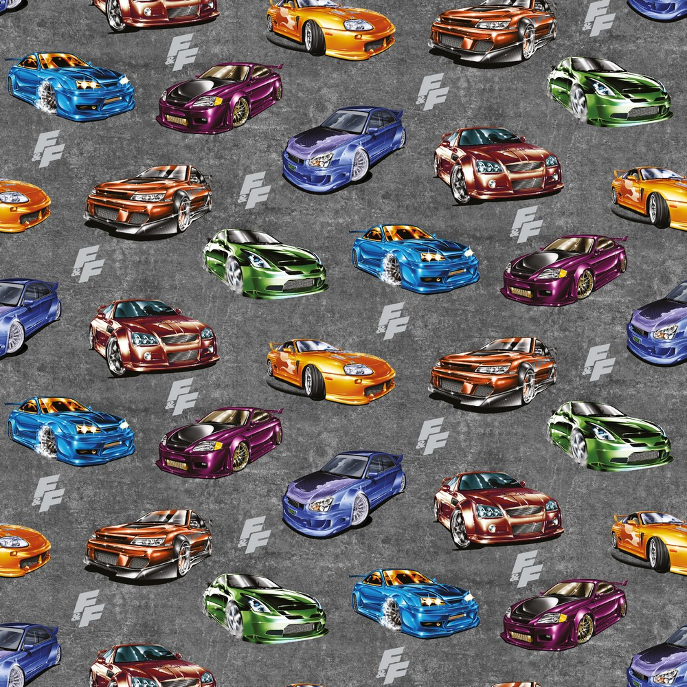 Fast & Furious Cars on Faux Charcoal Cotton Lycra Knit