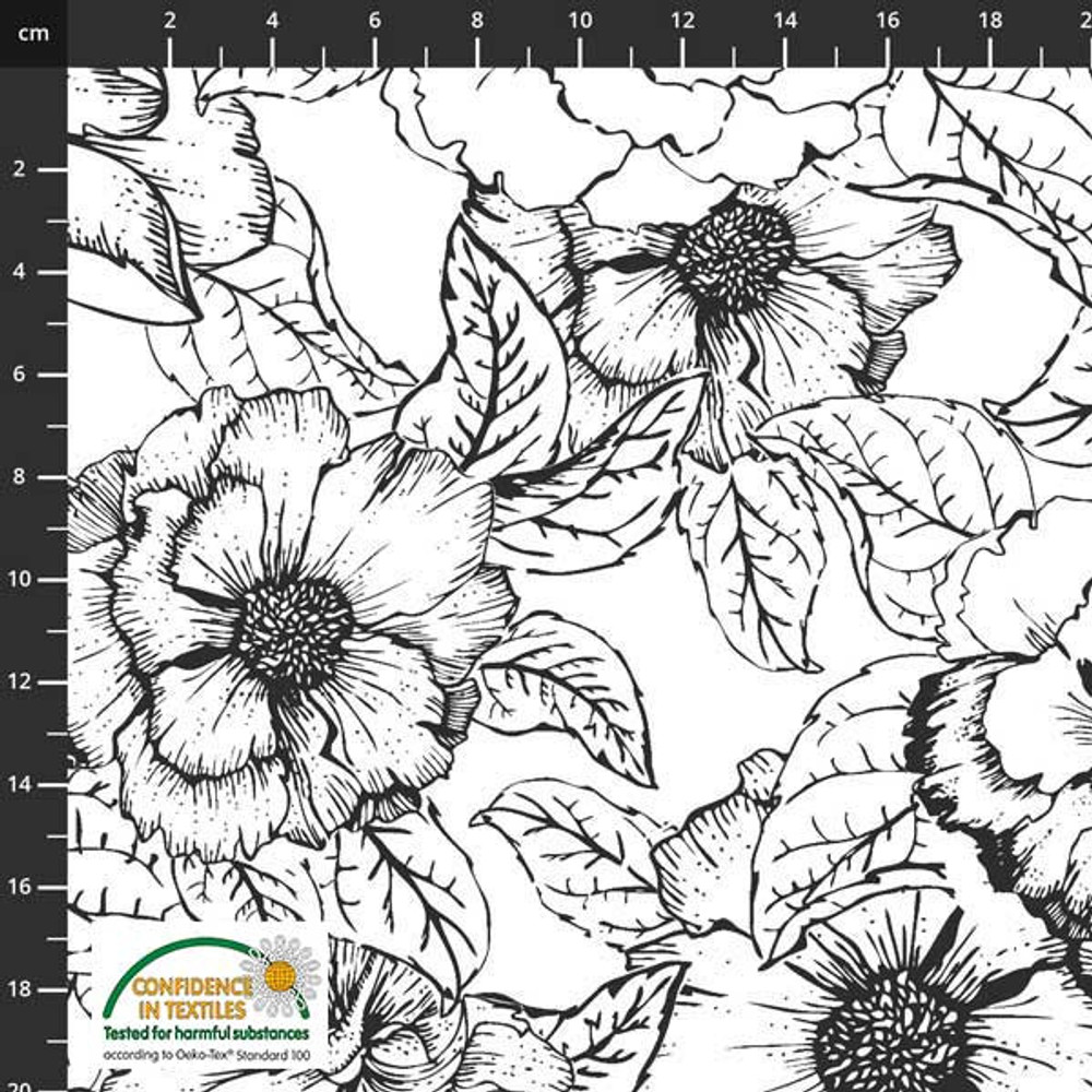 Stof Fabrics Floral Outline on White Cotton Lycra Knit