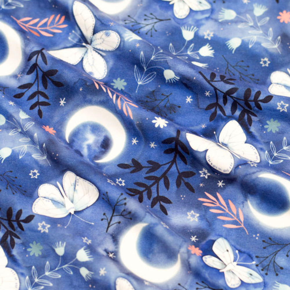 Butterflies & Moons on Blue Double Brushed Poly