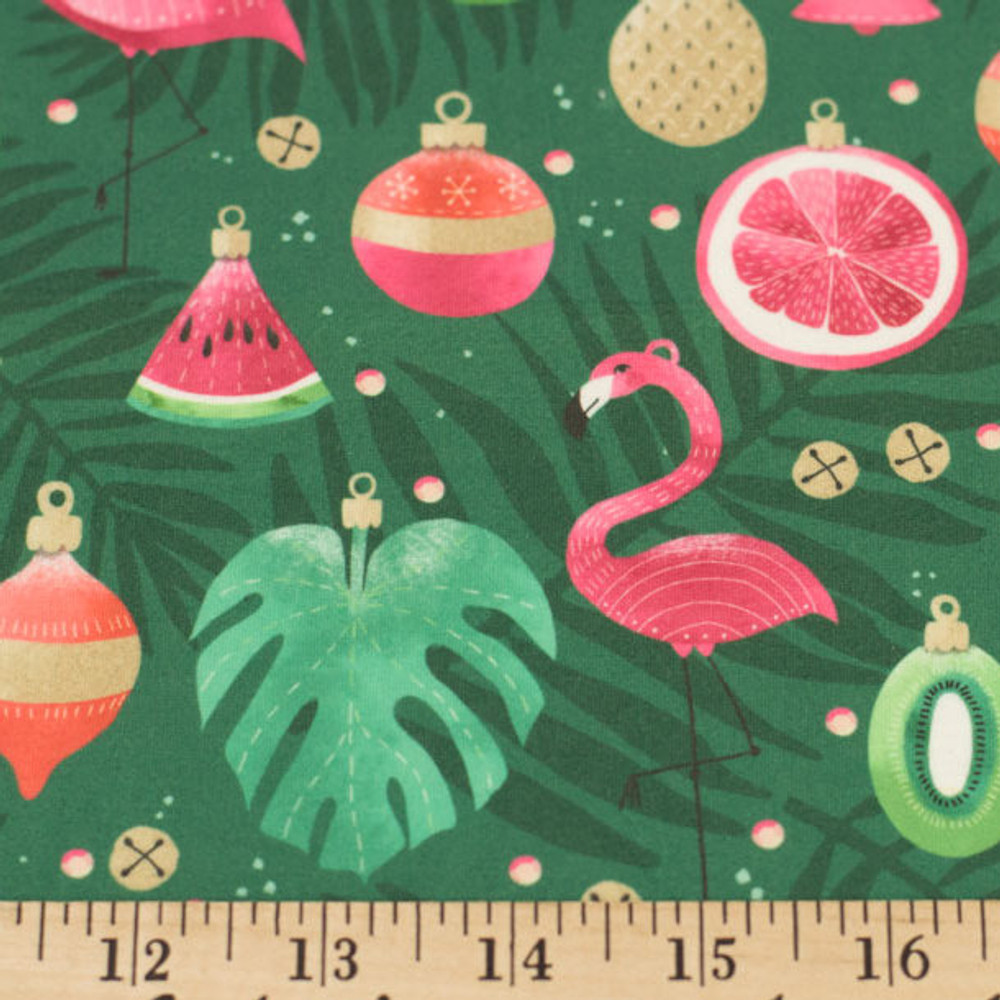 Tropical Christmas Double Brushed Poly