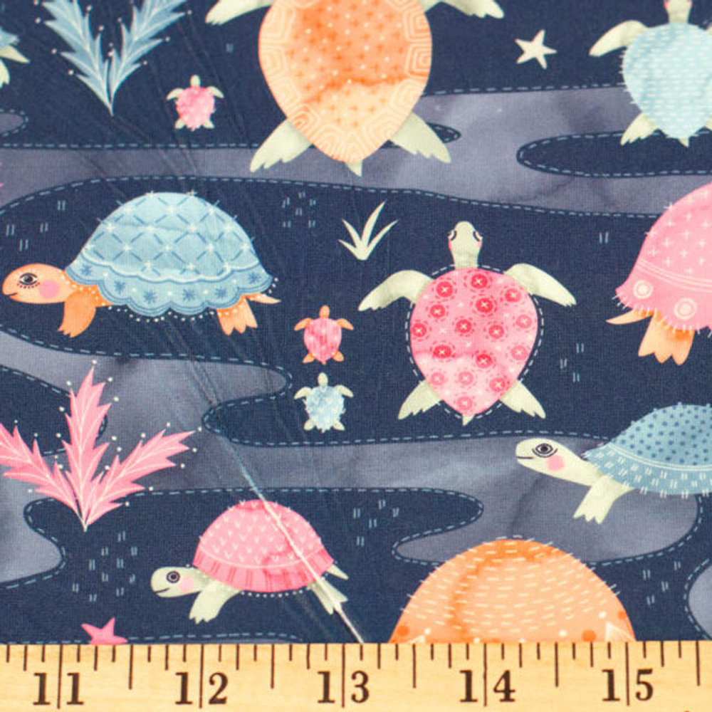 Sea Turtles in Navy & Pink Double Brushed Poly