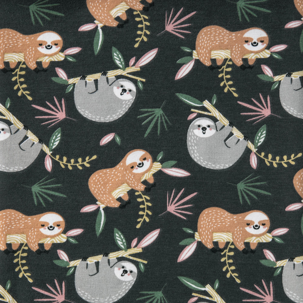 Sloth Slumber Party on Charcoal Cotton Lycra Knit