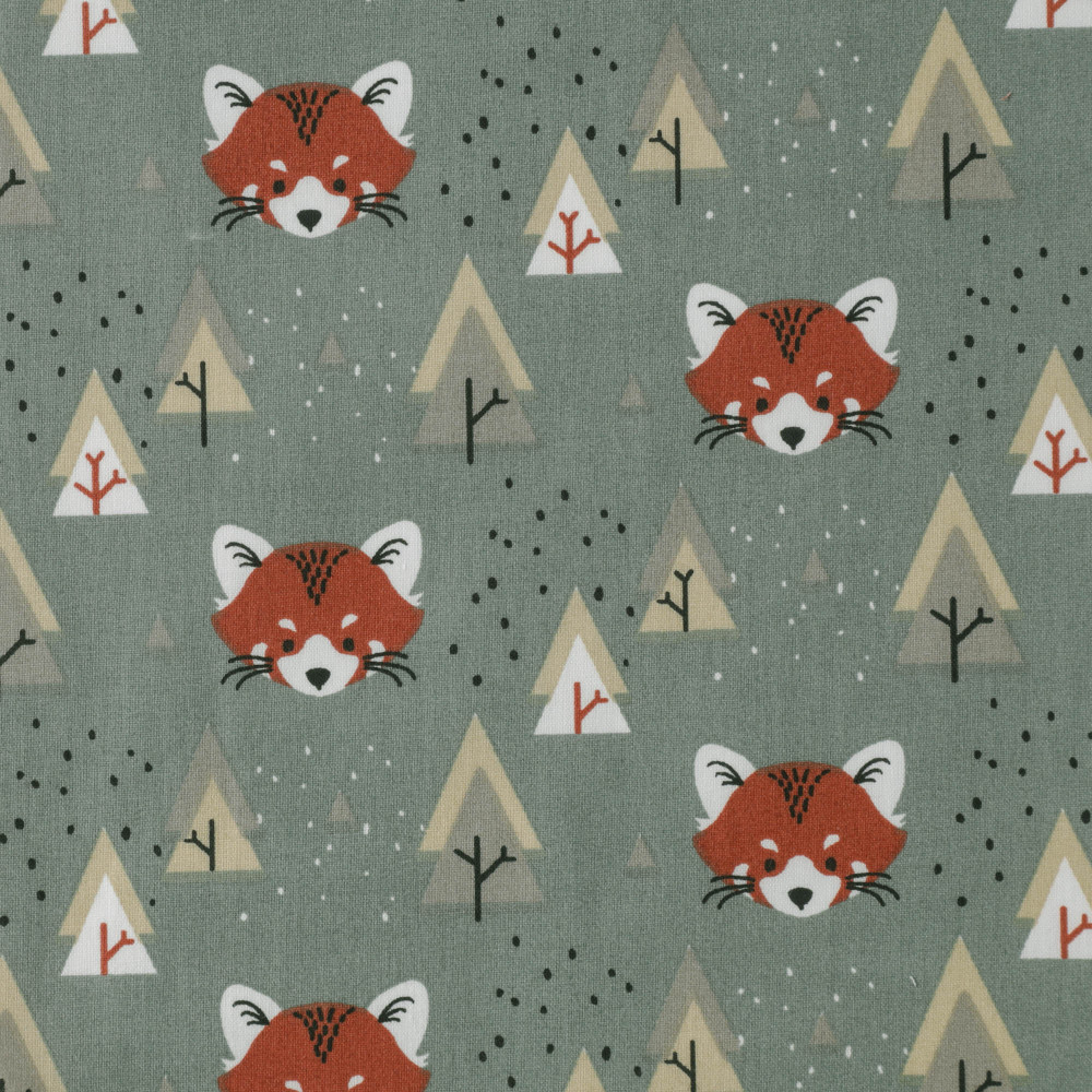 Fox Forest on Old Green Cotton Lycra Kni
