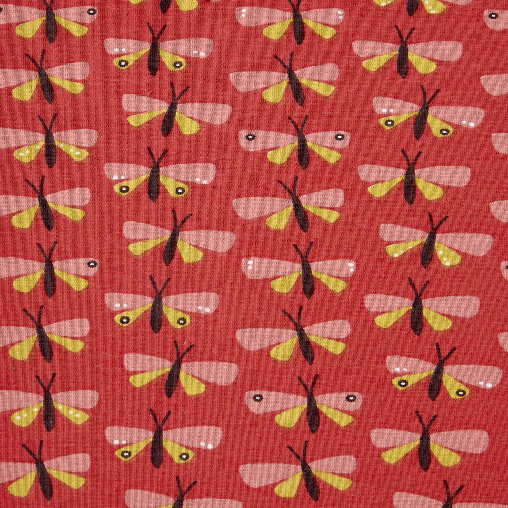 Butterflies on Coral Cotton Lycra Knit