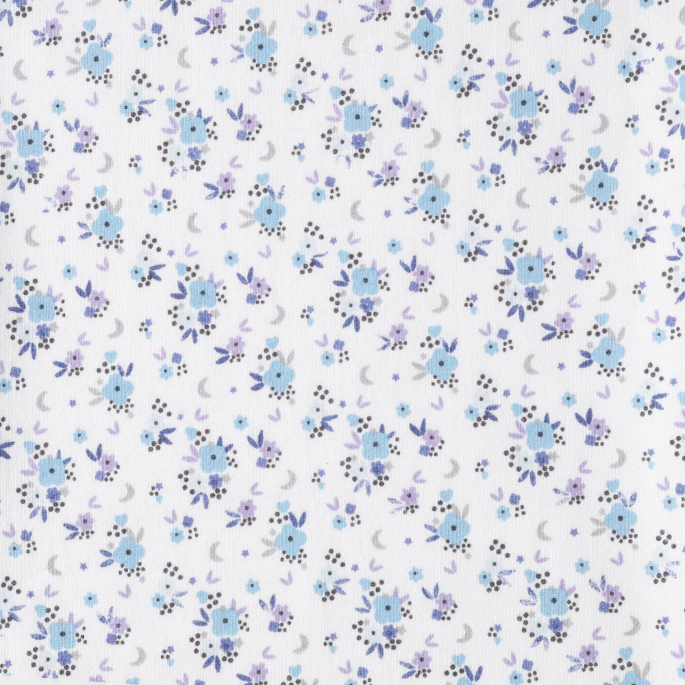 Floral Dream in Blue on White Cotton Lycra Knit