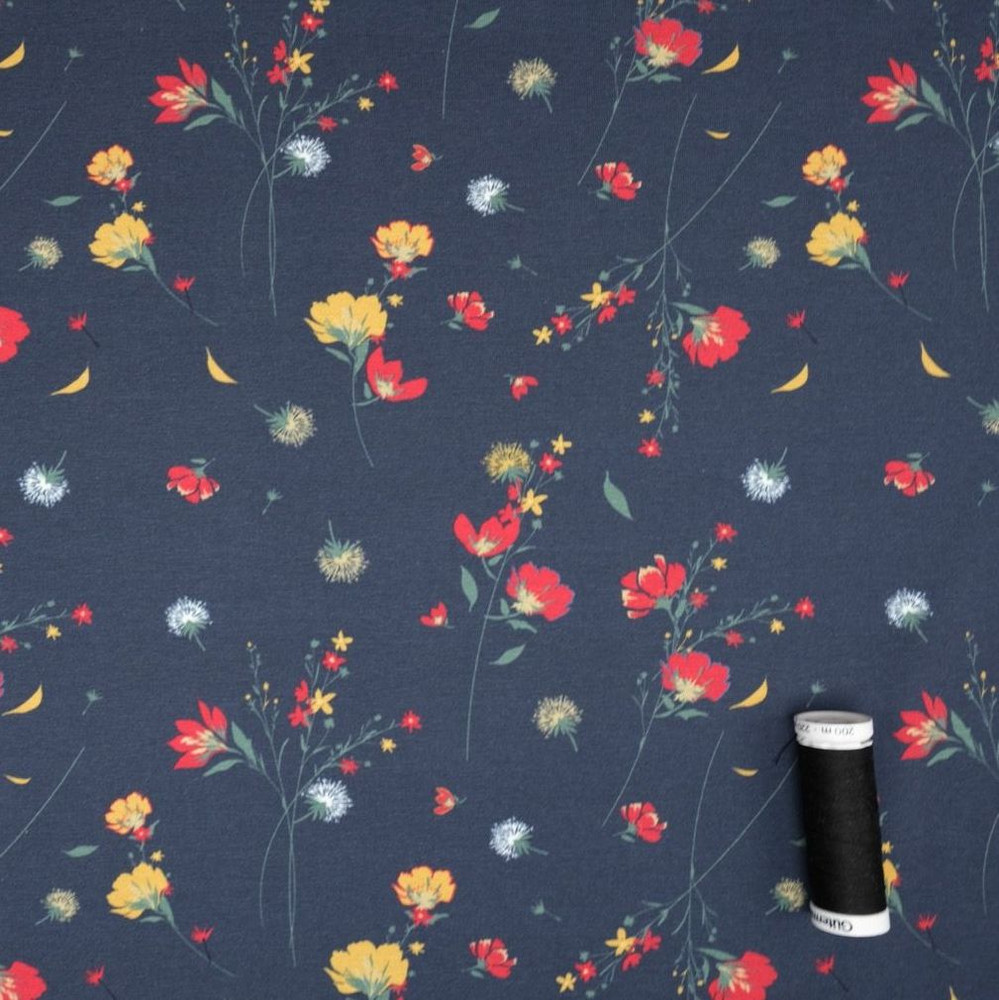 Flowers in the Wind on Navy Cotton Lycra Knit