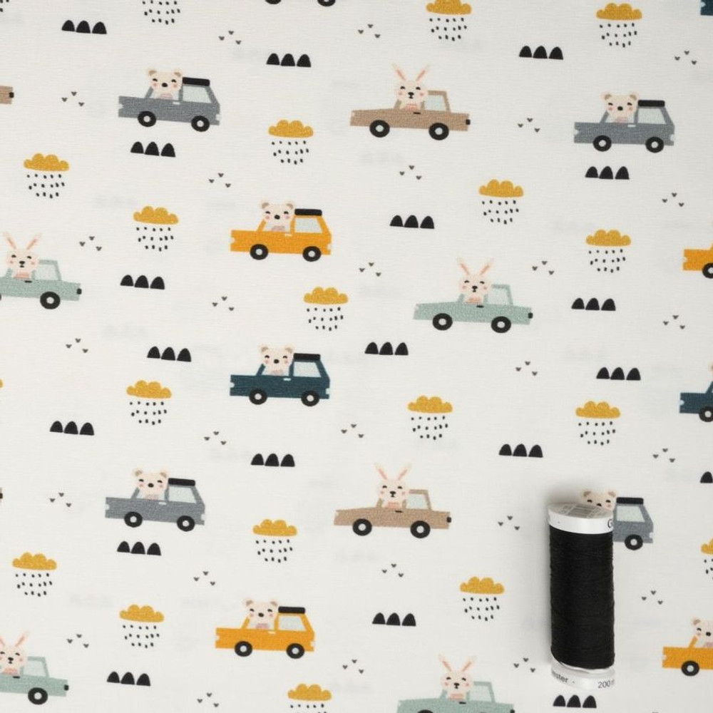 Driving Animals on Ivory Cotton Lycra Knit