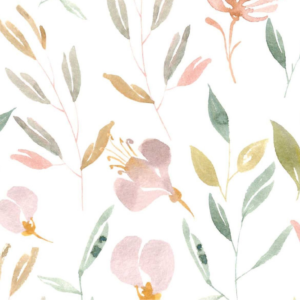 Delicate Watercolor Floral on Ivory Cotton Lycra Knit