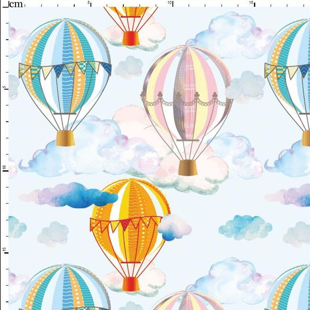 Watercolor Hot Air Balloons on White Cotton Lycra