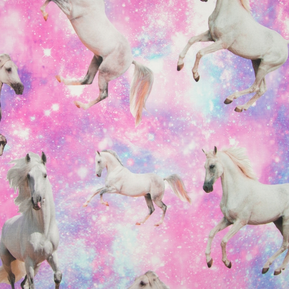 Magical Horses on Pink Cotton Lycra Knit