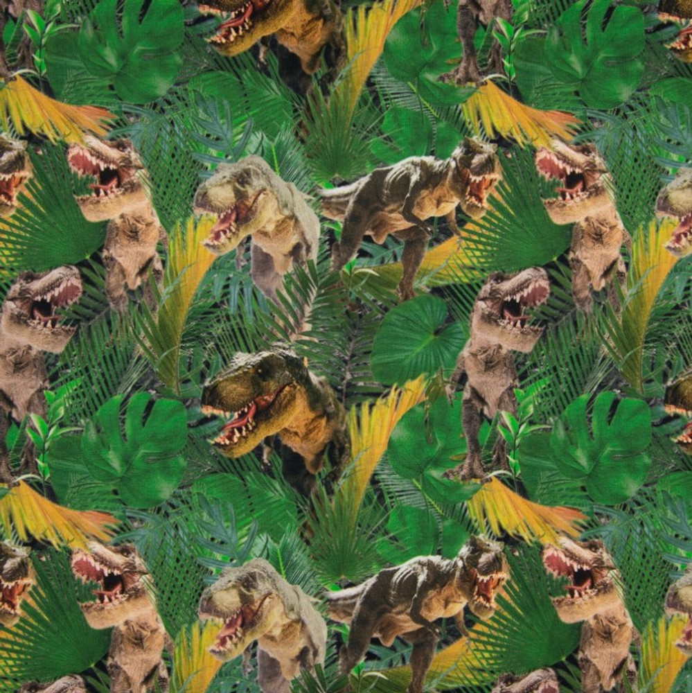 T-Rex Jungle on Green French Terry Knit