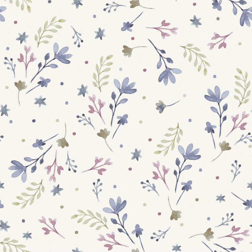 Delicate Floral in Green & Blue Cotton Lycra