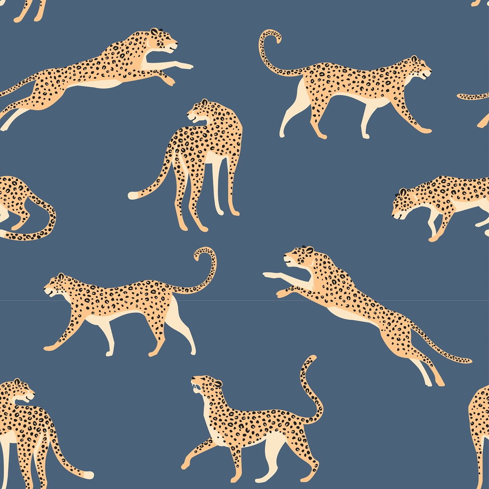 Leaping Leopards on Blue Cotton Lycra