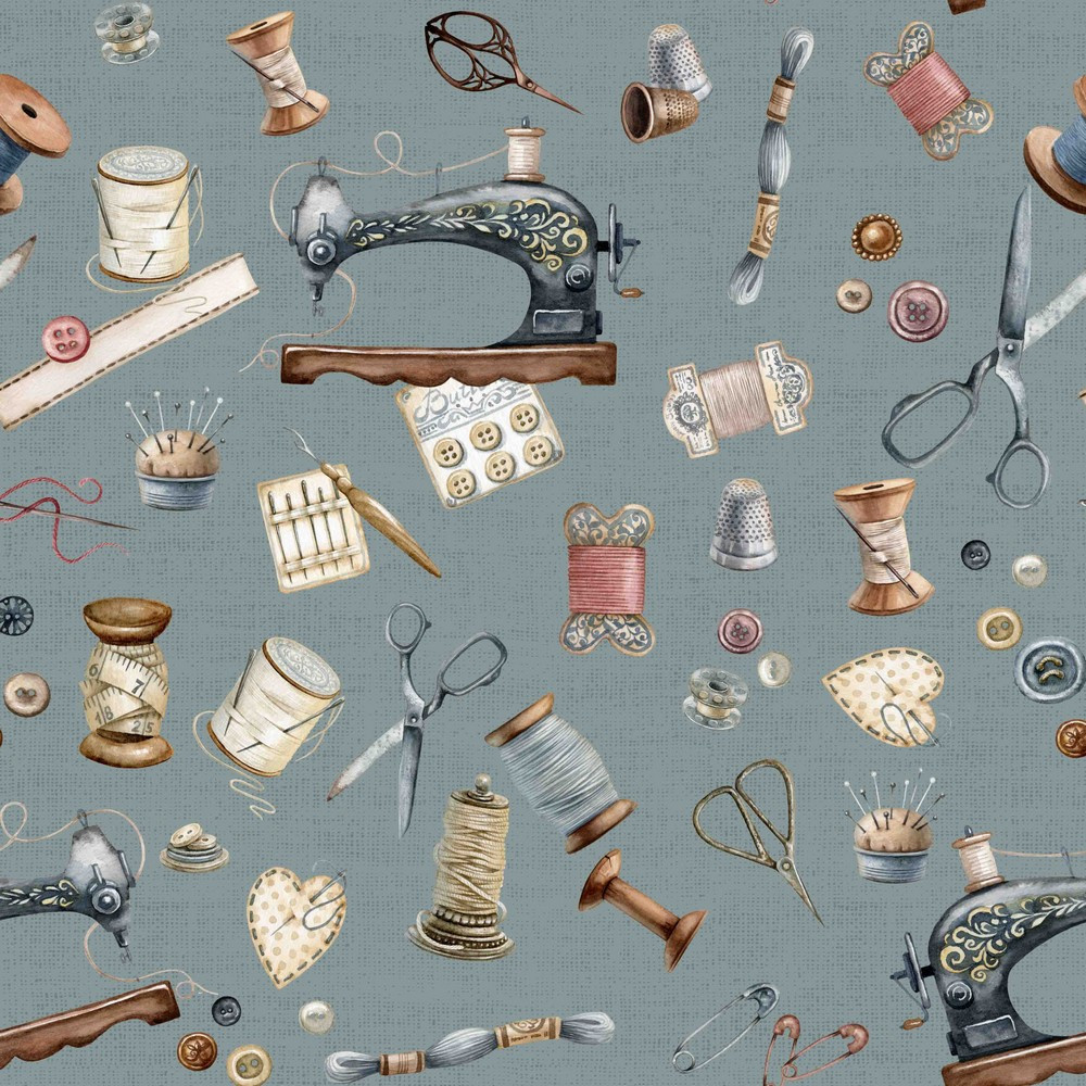 Sewing Kit on Dusty Blue Canvas