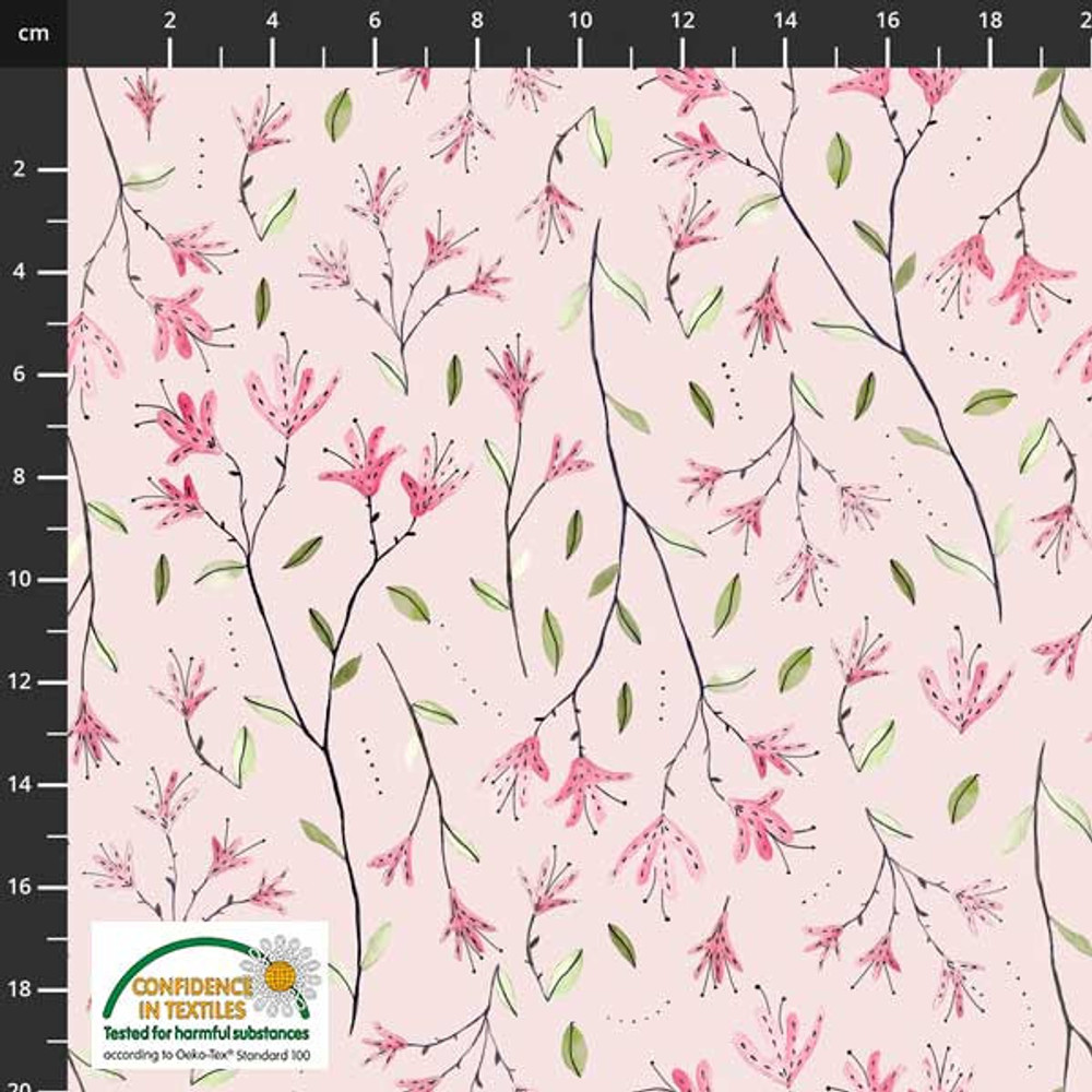 Stof Fabrics Delicate Floral on Pink Cotton Lycra Knit