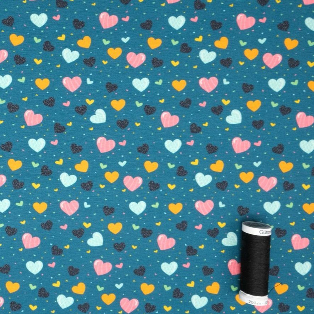 Confetti Hearts on Teal Cotton Lycra Knit