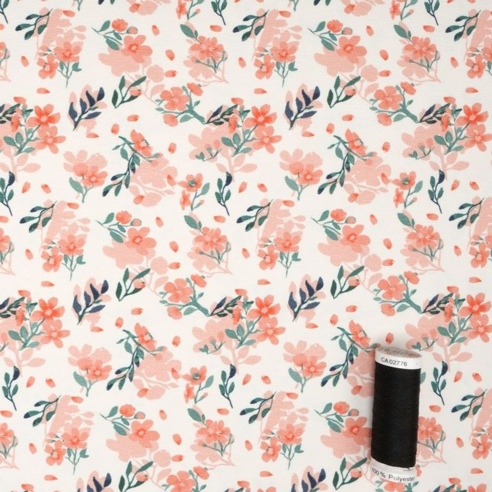 Watercolor Floral on Ivory Cotton Lycra Knit