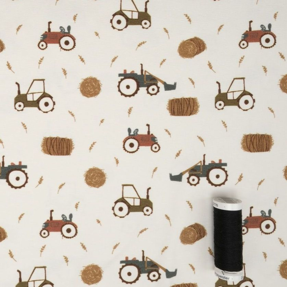 Tractors at Work on Ivory Cotton Lycra Knit