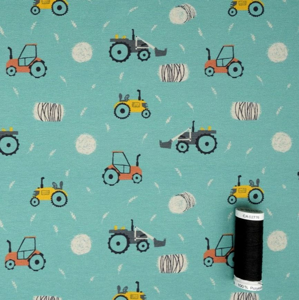 Tractors at Work on Teal Cotton Lycra Knit