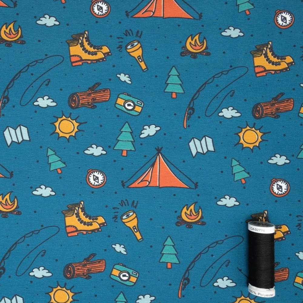 Camping Life on Teal Cotton Lycra Knit