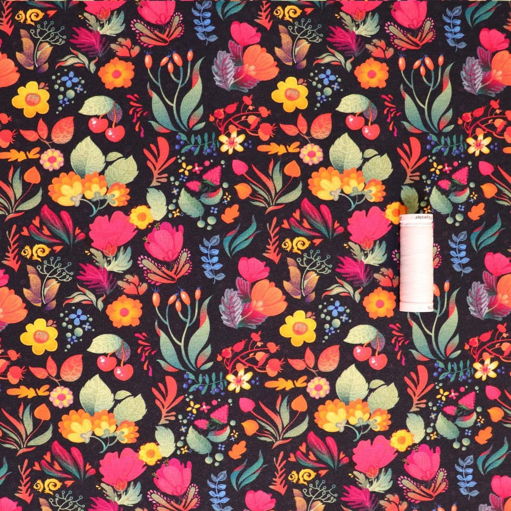 Vivid Floral Brushed French Terry