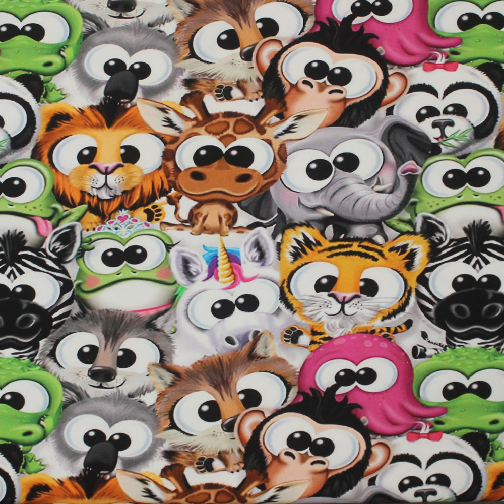 Packed Cartoon Animals French Terry Knit