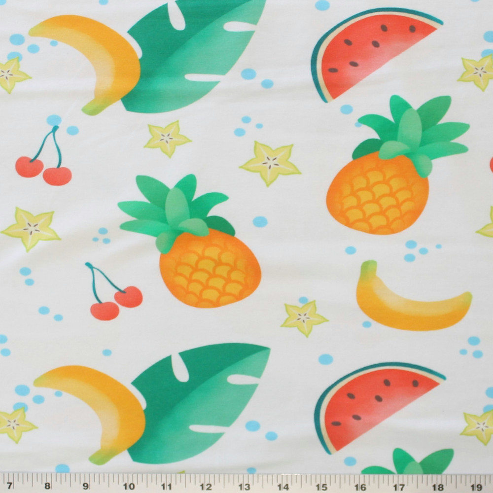 Large Scale Summer Fruits on White Cotton Lycra