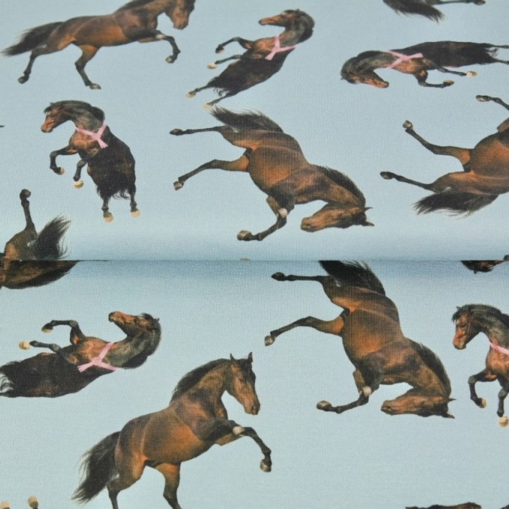 Horse Jumping on Blue Cotton Lycra