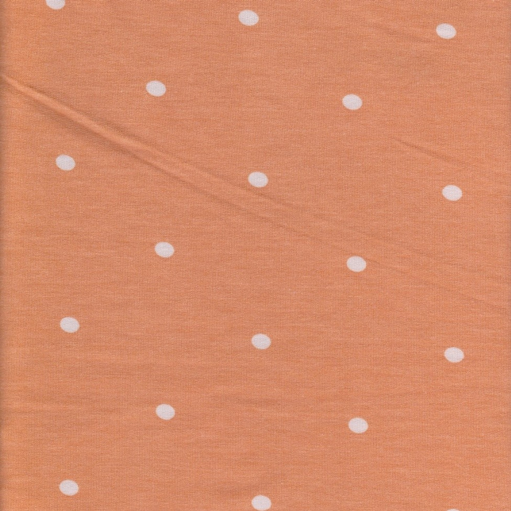 Polka Dots on Creamsicle Rayon Lycra French Terry Knit