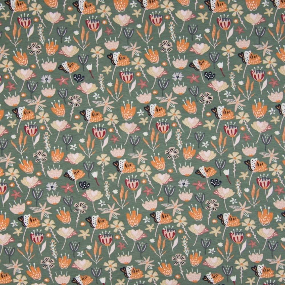 Autumn Floral on Dusty Green Cotton Lycra Knit