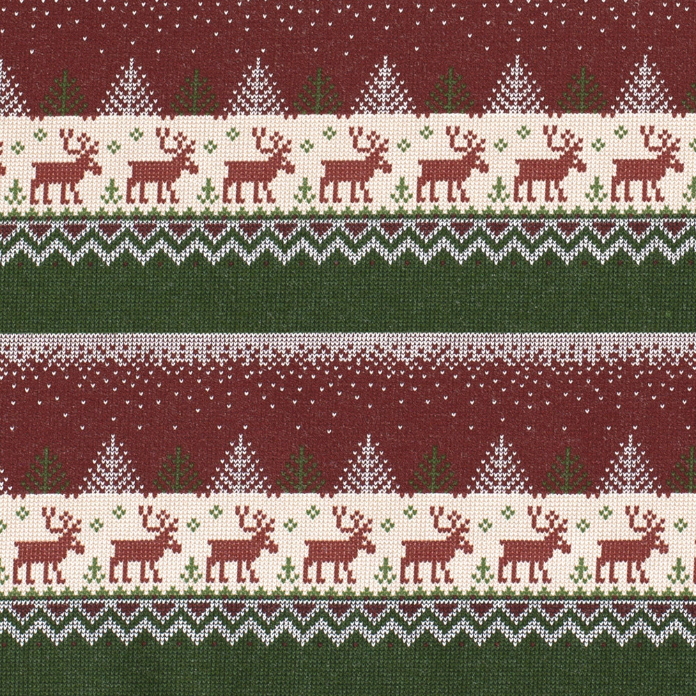 Christmas Sweater on Red Brushed French Terry