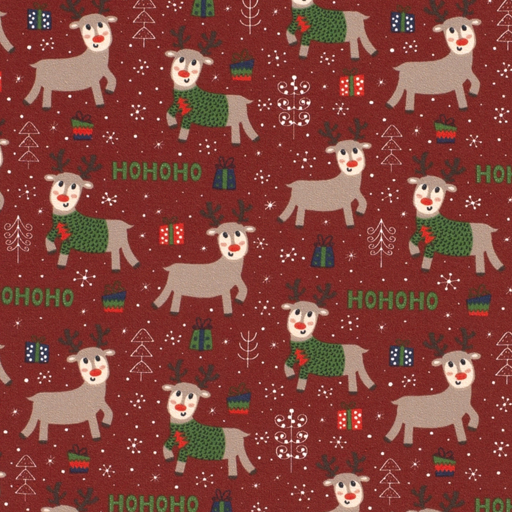 Christmas Reindeer on Red Cotton Lycra