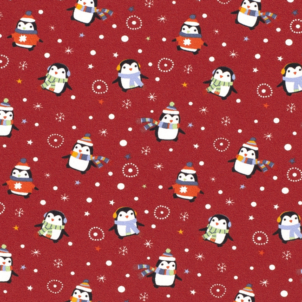 Chilly Penguins on Red Cotton Lycra