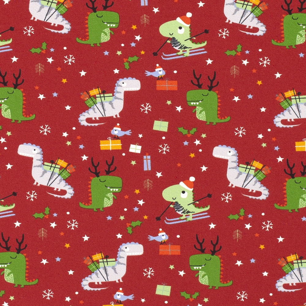 Christmas Dinosaurs on Red Cotton Lycra