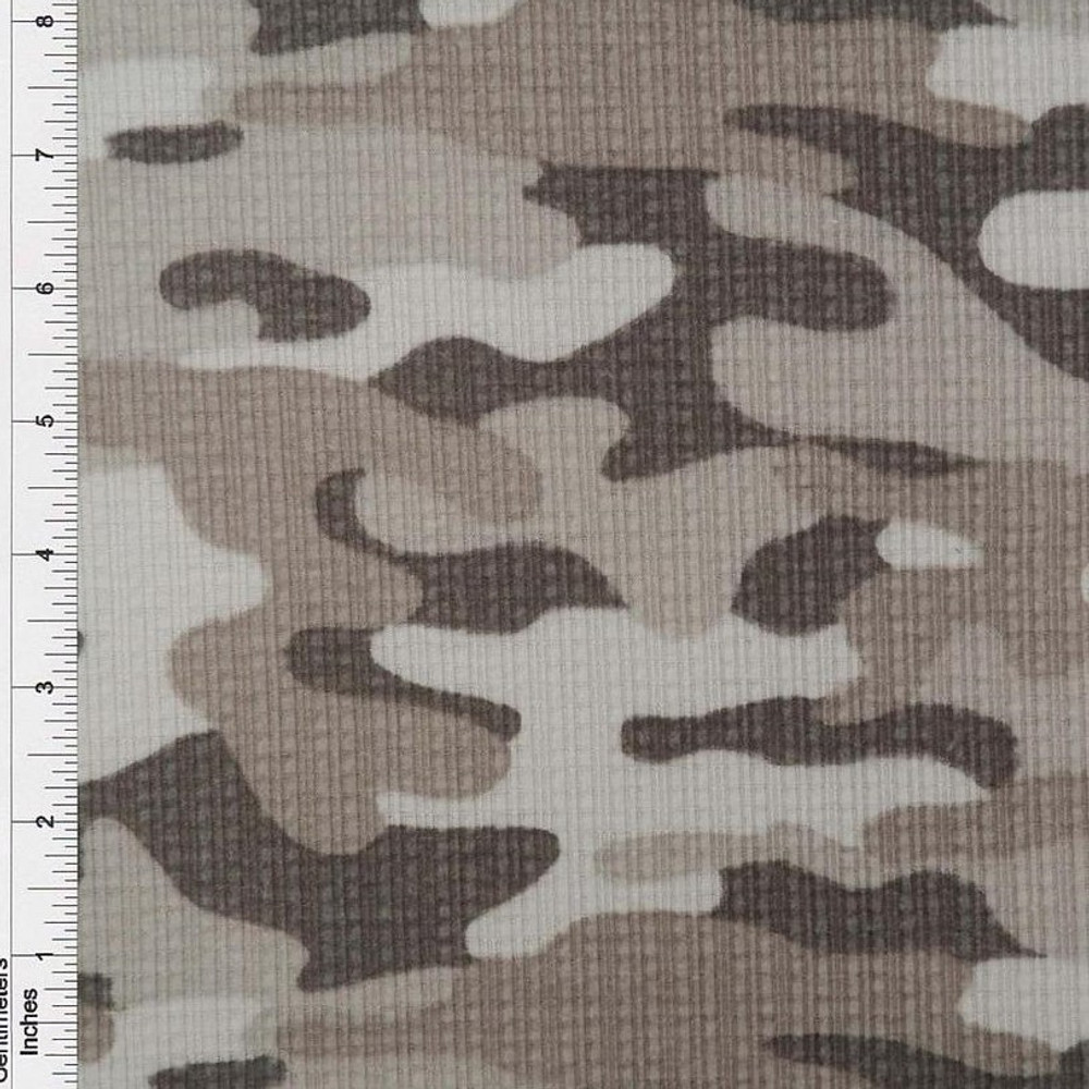 Gray Camo Brushed Pointelle Rib Knit