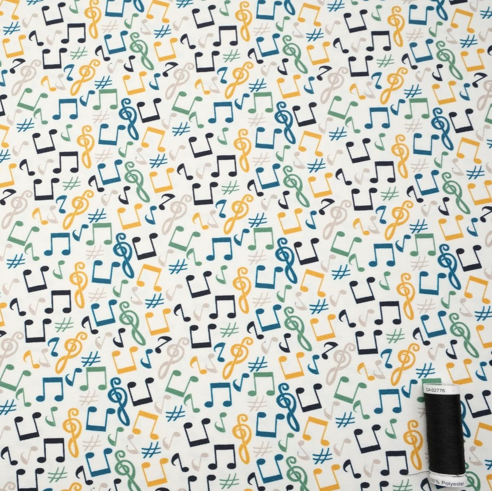 Dancing Music Notes on Ivory Cotton Lycra Knit